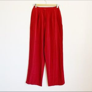 pure silk deep red high waist loose fit trousers